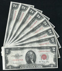 8 Consecutive 1953 2 Two Dollars Star Usn United States Notes Gem Unc