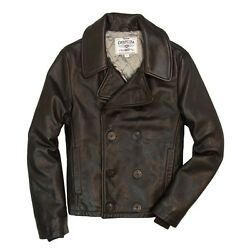 Cockpit Usa Naval Short Leather Peacoat Dark Brown Or Black Usa Made