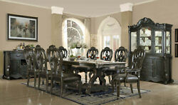 9 Pc Antique Black Dining Table Set Leather Seats Open Back Side and Arm Chairs