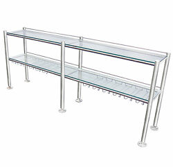 Stainless Steel Commercial Wine Rack, With 2 Tempered Clear Glass 3/8 Shelves