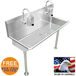 Hand Sink Industrial 2 Users Multi Station 48 Hands Free E. Fuacet Made In Usa