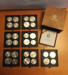 1976 Montreal 7 Series Canada Xxi Olympics Coin Mint Set Of 4 5 And 10