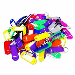 (Lot of 100) Key ID Tags Labels Keychain Split Key Ring Name Tag Colors USA Ship