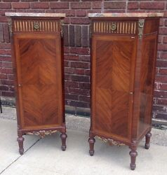 Pair Of Incredible Rosewood Louis Xiv French Lingerie Chests W/ Marble Tops