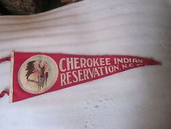 Vintage Cherokee Indian Reservation Pennant Nc Native Indian Chief Felt 26 1/2