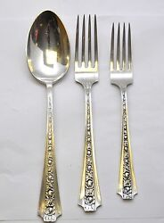 Frank Whiting Concord Sterling Talisman Rose 3pc Dinner Setting 2 Forks And Spoon