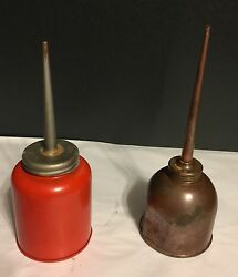 Set Of Two Vintage Thumb Oiler Oil Cans Eagle And Copper Very Nice 8