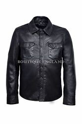 Menand039s Summer Leather Shirt Black | Casual Classic Real Leather Shirt 1822