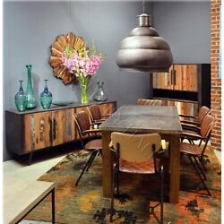 Block Leg Wood Base Galvanized Metal Top Dining Table--Custom Size Available