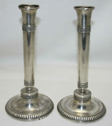 Pair Of Candlesticks. French Sterling Silver. Empire Style. Circa 1820.