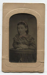 Tintype, Girl With Head Band And Bow. Tinted. Period Mat. Maker Mark.