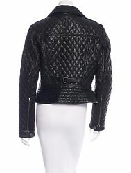Spectacular Nwt Sold Out Black Quilted Moto Leather Jacket