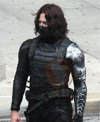 Bucky Barnes Winter Soldier Stylish Menand039s Leather Vest And Jacket 2 In 1 Design
