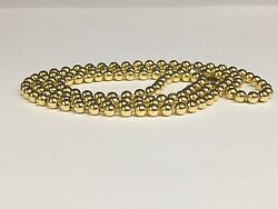 14k Yellow Gold Bead Ball Link Pendant Chain Necklace 4 Mm 16 20 Grams Bd4n