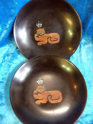 Set Of 2 Couroc Of Monterey Collectible Bowls Hand Inlaid Wood Cats