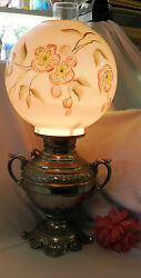 Antique Gone With Wind Silver Plate Converted Oil Lamp Chic Glass Globe 201010