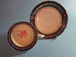 Aynsley Tea Cup And Saucer Blue And Gold Gilt Floral Center Teacup And Saucer