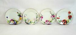 Vintage Japanese 8 1/2 Luster Plates Hand Painted Flowers Gold Rim 00101010