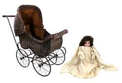 Antique German Armand Marseille Bisque Doll And Carriage And Toy Doll Carriage Bld