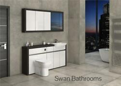 Hacienda / White Gloss Bathroom Fitted Furniture With Wall Units 1700mm
