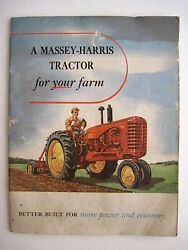 Colorful Vintage Brochure For Massey-harris Tractors For Your Farms