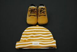 Timberland Infant Crib Wheat Leather Baby Booties And Hat GIFT SET Style 9589R