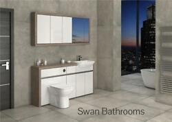 Driftwood / White Gloss Bathroom Fitted Furniture With Wall Units 1700mm