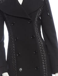 SPECTACULAR NEW $9295 DOLCE & GABBANA WOOLLEATHER LACE UP DOUBLE-BREASTED COAT