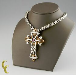 Mens Tigrani Sterling Silver .925 And Bronze Ruby Stone Cross 24 Inches Long