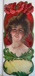 Large Victorian Die-cut Of Beautiful Woman W/ Red Flowers Above Head W/ Pearls