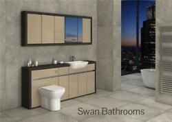 Hacienda / Cappuccino Gloss Bathroom Fitted Furniture With Wall Units 2000mm