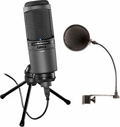 Audio Technica AT2020USBi USB Large Diaphragm Microphone Bundle wPop Filte