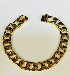 14kt Solid Yellow Gold Handmade Curb Link Mens Chain Bracelet 9 50 Grams 14mm