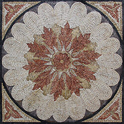 Flower Power Corners Calm Color Design Marble Mosaic GEO2459