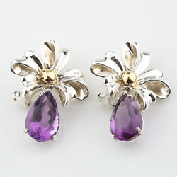 And Co. Sterling Silver And Gold Amethyst Ribbon Retired Earrings With Box