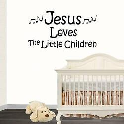 Wall Decal. Nursery Wall Decals. Jesus Loves The Little Children. Music Notes.