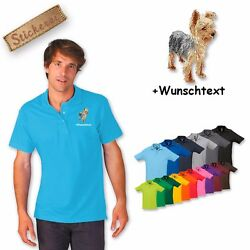 Polo Shirt Cotton Embroidered Embroidery Dog Yorkshire Terrier 2+ Desired Text