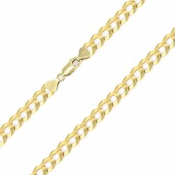 14k Solid Yellow Gold Cuban Necklace Chain 6mm 20-30 -round Curb Link Men Women