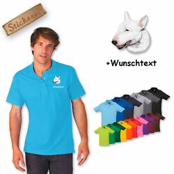 Polo Shirt Shirt Cotton Embroidery Dog Bull Terrier + Desired Text