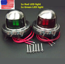 Pair Marine Boat Yacht Pontoon 12v Stainless Steel Led Bow Navigation Lights New