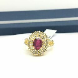 18k Yellow Gold Natural Glass Filled Oval Ruby Diamond Ring Halo Cocktail July
