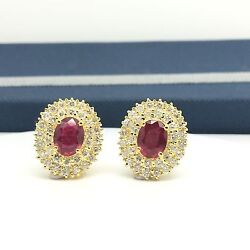 18k Yellow Golf Natural Glass Filled Ruby Diamond Oval Earrings July Birthstone