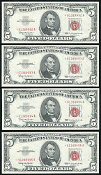 4 Consecutive 1963 5 Red Seal Star United States Notes Gem Uncirculated