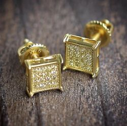 Mens Small 14k Gold Earrings Square Shaped Hip Hop Canary Yellow Cz High Quality