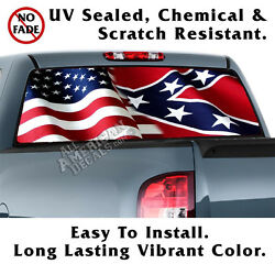 American Andcr Flag Wavy Aged Back Window Graphic Perforated Film Decal Lrg Truck