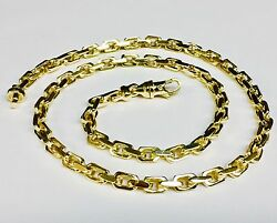 10kt Solid Yellow Gold Handmade Link Menand039s Chain/necklace 21 60 Grams 5.5mm