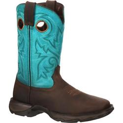 Durango Dwrd022 10 Lady Rebel Teal Steel Toe Eh Rated Cowgirl Western Boots