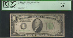 Fr. 2006-h 1934-a 10 Star Frn Federal Reserve Note St. Louis Mo Pcgs Vf-20