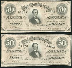 2 Consecutive 1864 50 Fifty Dollars Confederate States Of America Banknotes