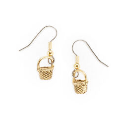 Basket Charm Earrings Gold Plated Pewter Round Nantucket Shaker Surgical Steel